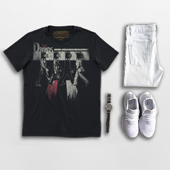 THE DROIDS mens street style tee. Goldingers Brand 100% cotton jersey, short sleeve, crew neck, pre-shrunk, screen printed Vintage lifestyle music Graphic Tee. Wear with white denim.