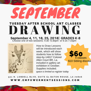 September Tuesday After School Art Program - Drawing - 4 weeks