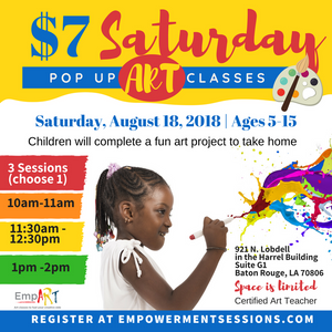 $7 Saturday Art Pop Up Class (Baton Rouge, LA) August 18, 2018