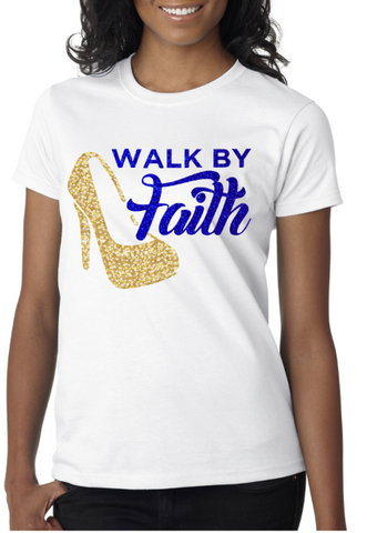 Walk By Faith (Blue and Gold Glitter with rhinestones)