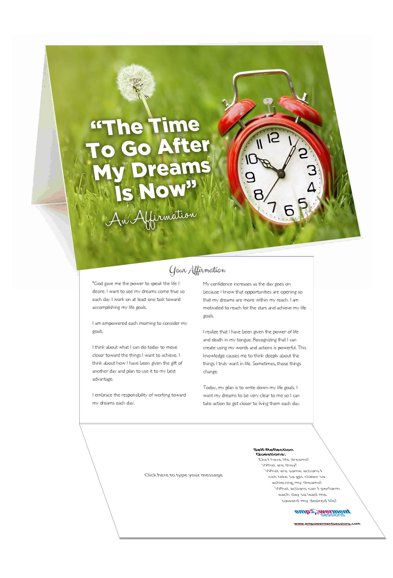 The Time to Follow My Dreams is Now Affirmation Greeting Card