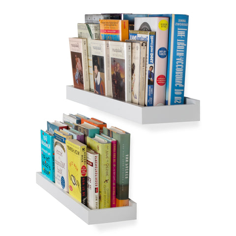 "PHILLY Floating Shelves and Wall Bookshelf for Bedroom Decor – 23.6"" Length – Set of 2 – White"