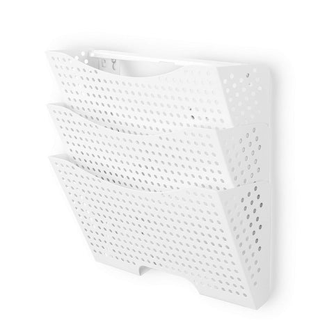 DOTS LISBON Wall File Magazine Holder – 3 Sectional – White - Wallniture