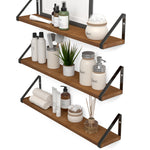 "PONZA 24"" Bathroom Shelf for Bathroom Decor, Wall Bathroom Organizer – Set of 3 – Walnut"