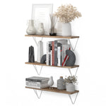 "COLMAR 24"" Rustic Floating Shelves, Geometric Triangle Shelf for Living Room Decor - Set of 3 - Wallniture"