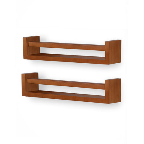 UTAH Wooden Wall Shelf – Set of 2 – Walnut - Wallniture