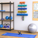 GURU Wall Mount Yoga Mat holder & Foam Roller Rack with Hooks for Hanging - 5 Sectional - Black - Wallniture