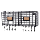 AMALFI Wire Basket for Bathroom Decor Wall Mounted Bathroom Organizer with 10 Hooks for Hanging - 2 Sectional  - Black - Wallniture