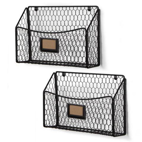 CESTINO Wire Basket for Office Decor, Wall Mount Magazine holder – Set of 2 – Black - Wallniture