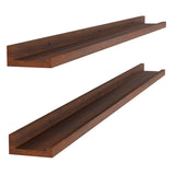 "DENVER Floating Shelves and Picture Ledge for Bedroom Decor – 48"" x 3.7"" – Set of 2 – Walnut - Wallniture"