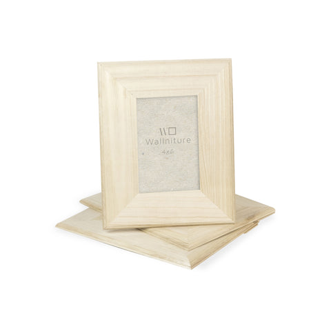 "WOODSTOCK Unpainted Wooden Picture Frame – Set of 3 – 4"" x 6"" Display - Wallniture"