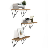 "COLMAR Bookshelf for Office Decor, Geometric Triangle Shelf for Office Storage – 17"" x 6"" – Set of 3 - Wallniture"
