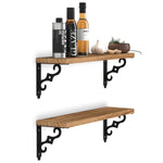 "RAVELLO Kitchen Floating Shelves and Spice Rack Wall Mount – 17"" Length – Set of 2 – Natural Burned - Wallniture"