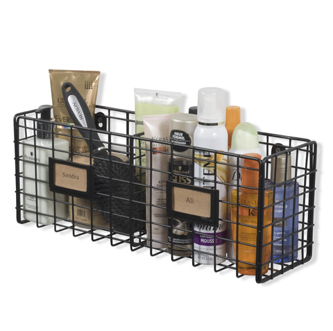 AMALFI Wire Basket for Bathroom Decor Wall Mounted Bathroom Organizer - 2 Sectional - Black - Wallniture