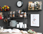 AMALFI Home Organizer Wire Basket Wall Wire Rack - 2 Sectional - Black - Wallniture
