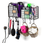 AMALFI Home Organizer Wire Basket Rack with 10 Hooks - Black - wallniture