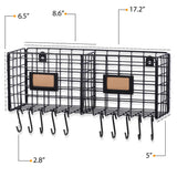 AMALFI Home Organizer Wire Basket Wall Wire Rack with 10 Hooks for Hanging - 2 Sectional  - Black - Wallniture