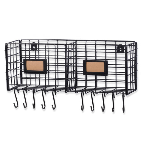 AMALFI Home Organizer Wire Basket Rack - 2 Sectional with 10 Hooks - Black - Wallniture