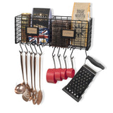 AMALFI Wire Fruit Basket, Kitchen Organization and Storage Rack with 10 Hooks for Hanging - 2 Sectional - Black - Wallniture