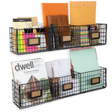 AMALFI 3 Sectional  Home Organizer Wire Basket Rack - Set of 2 - Black - Wallniture