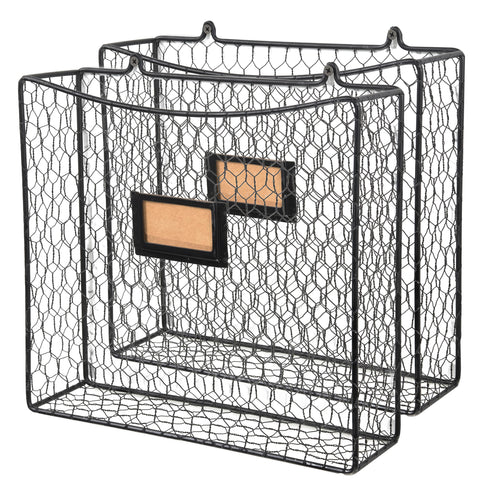 CESTINO Magazine and File Wire Basket - Set of 2 - Black - Wallniture