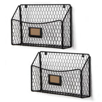 CESTINO Magazine and File Organizer Wire Basket – Set of 2 – Black - Wallniture