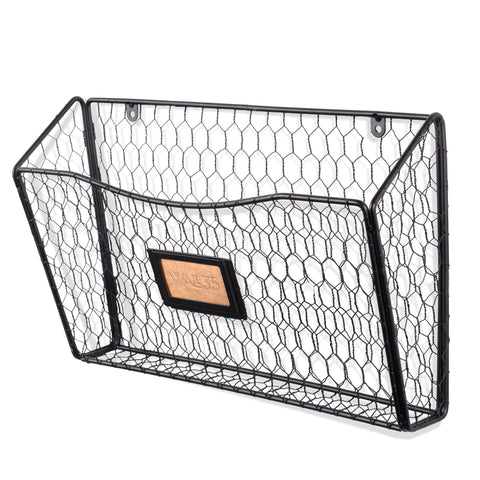 FELIC Wire Basket Wall File and Magazine Organizer - Black, White - Wallniture