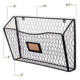 FELIC Wire Basket for Office Decor, Wall Mount Magazine holder - Set of 3 - Black - Wallniture