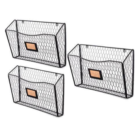 FELIC Wire Basket Wall File and Magazine Organizer - Set of 3 - Black - Wallniture
