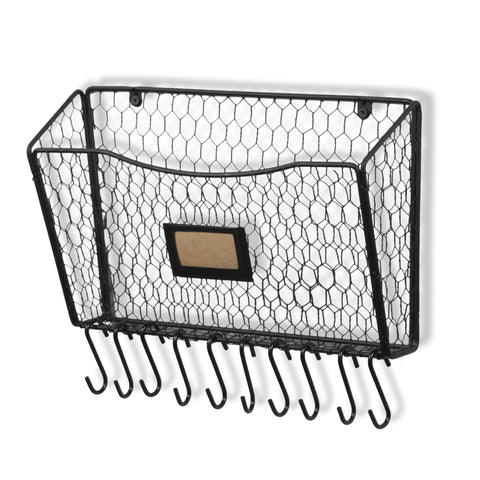FELIC Wire Basket with Hooks - Black
