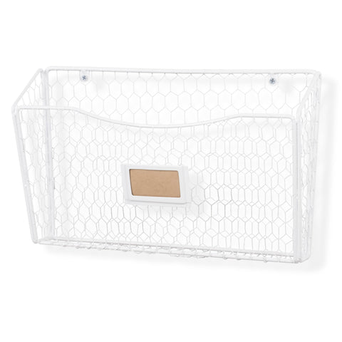 "FELIC Wire Basket for Office Decor, Wall Mount Magazine holder - 14"" Width - White - Wallniture"