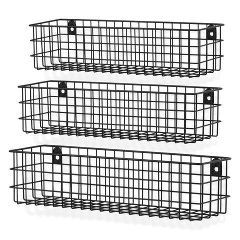 "KANSAS Wire Wall Baskets with 15.25"", 16.25"" and 17.25"" Length - Set of 3 - Black, White, Gray"