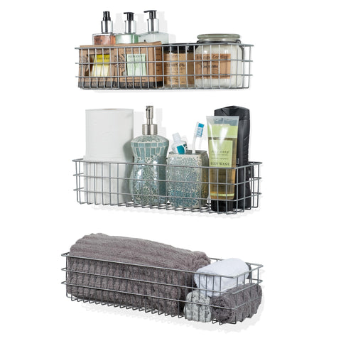 KANSAS Wire Basket for Bathroom Decor Wall Mounted Bathroom Organizer - Multi-Size - Set of 3 - Gray - Wallniture