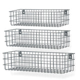 "KANSAS Wire Wall Baskets with 15.25"", 16.25"" and 17.25"" Length - Set of 3 - Black, White, Gray - Wallniture"