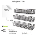 "KANSAS Wire Wall Baskets with 24"", 25"" and 26"" Length - Set of 3 - Black, Gray, White"