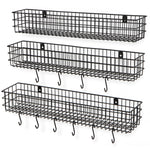 "KANSAS Wire Wall Baskets with 24"", 25"" and 26"" Length - Set of 3 - 10 Hooks - Black, Gray, White - Wallniture"