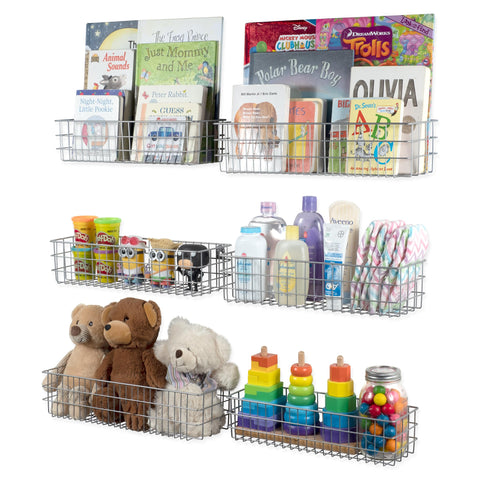 KANSAS Wire Basket Kids Bookshelf & Toy Storage For Nursery Decor - Multisize - Set of 6 - Gray