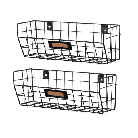 MACON Wire Basket Shelf Organizers - Set of 2 - Black, White - Wallniture