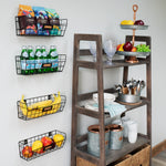 MACON Wire Fruit Basket, Kitchen Organization and Storage Rack - Set of 2 - Black - Wallniture