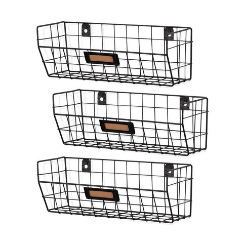 MACON Wire Basket Shelf Organizers - Set of 3 - Black - Wallniture