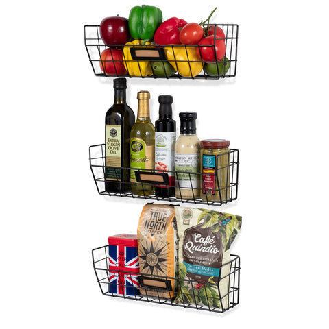 MACON Wire Fruit Basket, Kitchen Organization and Storage Rack - Set of 3 - Black - Wallniture