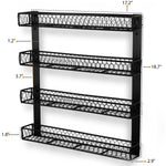 POSITANO Wall Mount Wire Rack & Home Organizer - 4 Sectional - Black