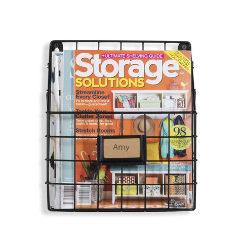 "RIVISTA Wire Basket Wall File and Magazine Organizer -  11.75"" Length  - Black - Wallniture"