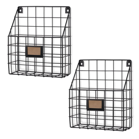 "RIVISTA Wire Basket for Office Decor, Wall Mount Magazine holder - 11.75"" Length - Set of 2 - Black - Wallniture"