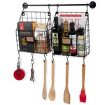 RITA Wire Baskets with Rail and Hooks - Black - Wallniture