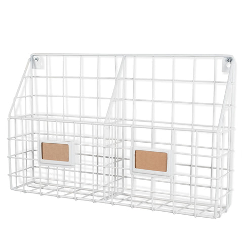 "RIVISTA Wire Basket - 2 Sectional - 17"" Width - White - Wallniture"