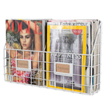 "RIVISTA Wire Basket for Office Decor, Wall Mount Magazine Holder - 2 Sectional - 17"" Width - White - Wallniture"