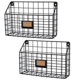 "RIVISTA Wire Basket Wall Mount Wire Rack - 13.25"" Length - Set of 2 - Black - Wallniture"