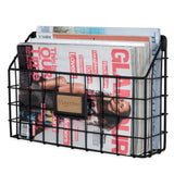 "RIVISTA Wire Basket for Office Decor, Wall Mount Magazine holder - 13.25"" Width - Set of 1, or 2 - Black - Wallniture"