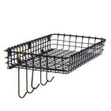 SIENA Wire Basket for Bathroom Decor, Wall Mounted Bathroom Organizer with 5 Hooks for hanging - Black - Wallniture